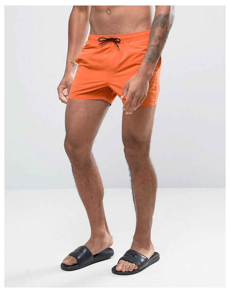 ASOS Swim Shorts In Orange Short Length - Orange
