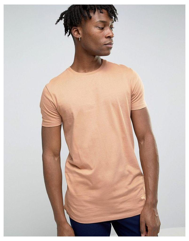 ASOS Longline T-Shirt In Brown - Bandage