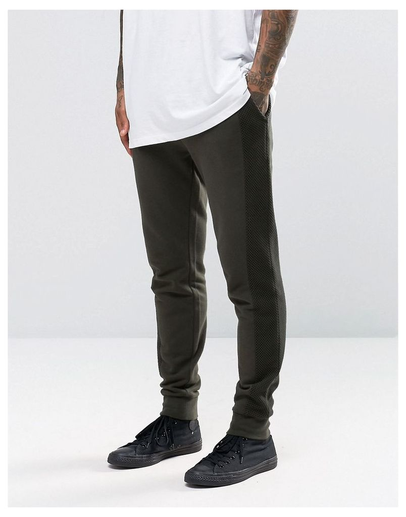 ASOS Skinny Joggers With Mesh Panels In Khaki - Khaki