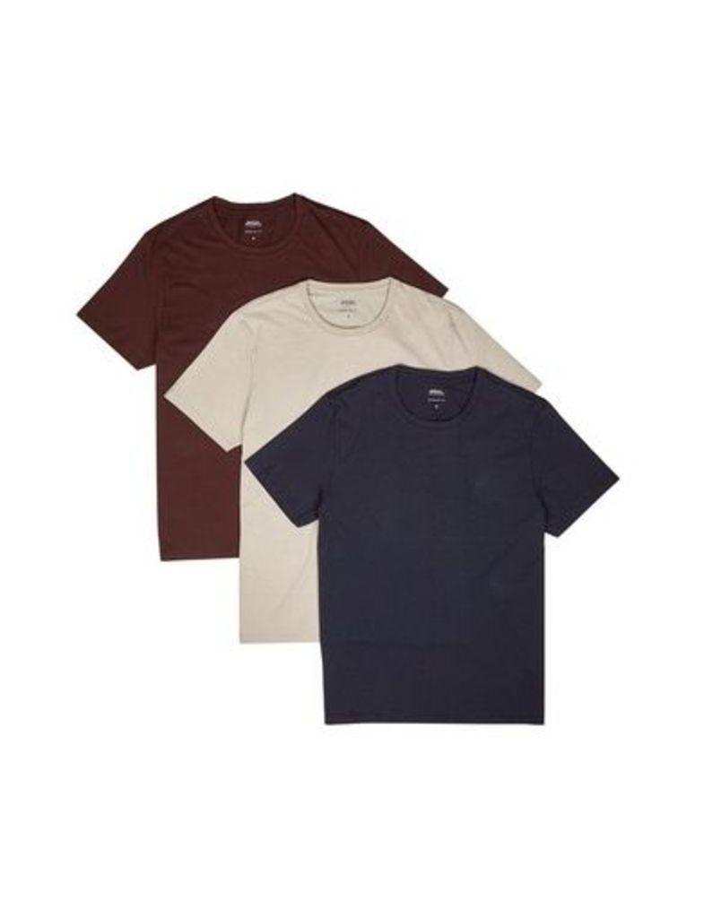 Mens 3 Pack Raisin, Navy And Dove Grey Crew Neck T-Shirt, Burgundy