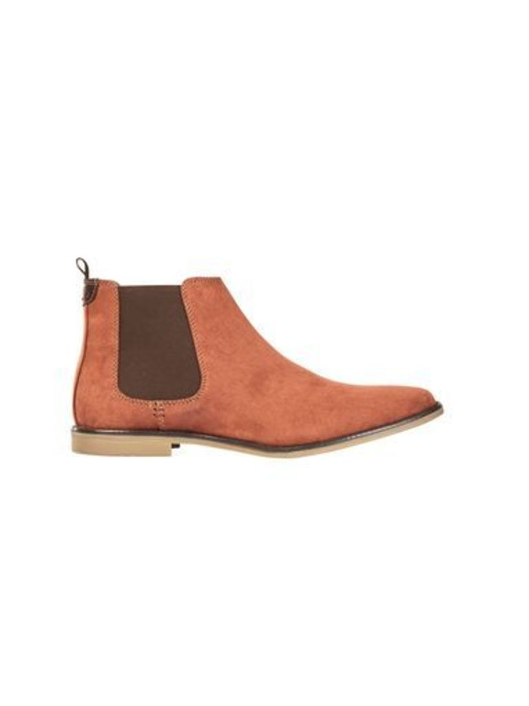 Mens Red Suede Look Chelsea Boots, RED