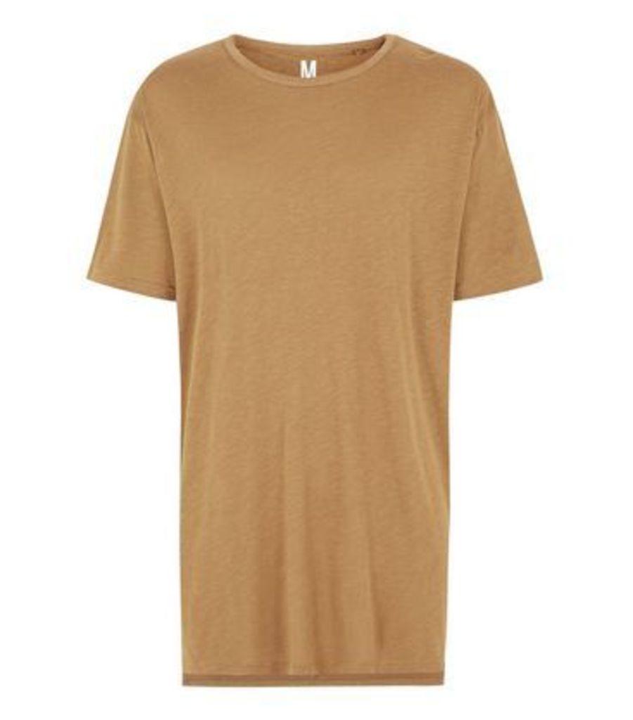 Tan Split Hem Longline T-Shirt New Look