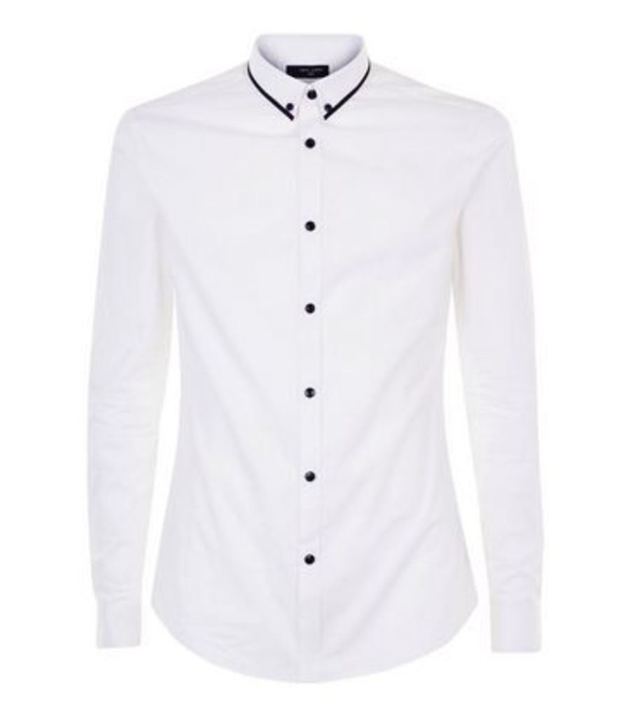 White Double Collar Trim Muscle Fit Shirt New Look