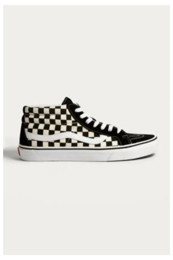 Vans Sk8-Mid Reissue Checkerboard Trainers, Black & White