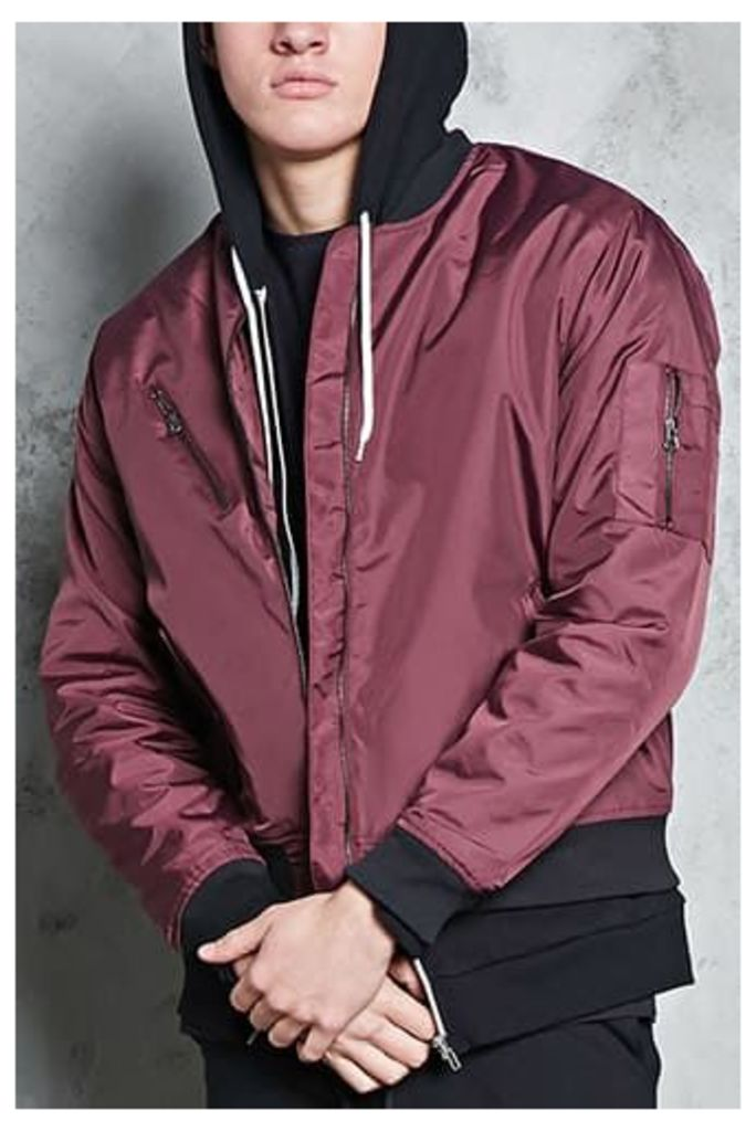 Check-Lined Bomber Jacket