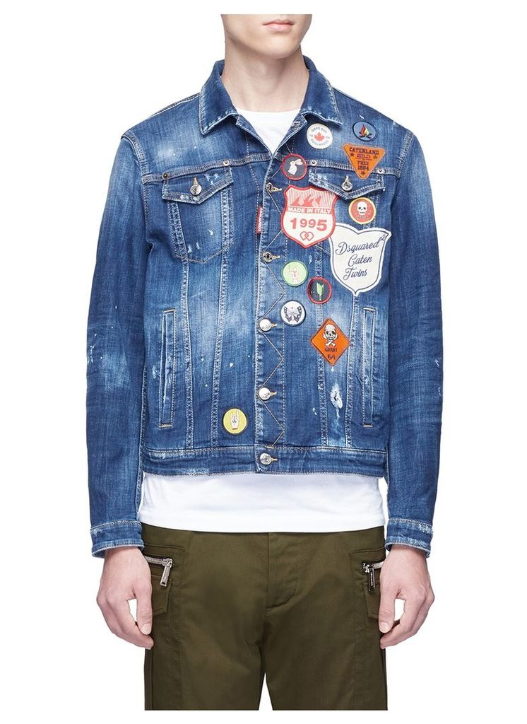 Mixed badge washed denim jacket