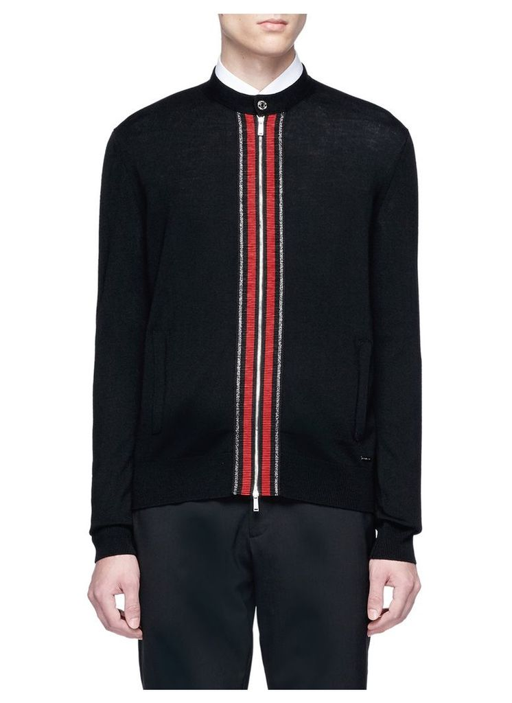 Stripe trim wool zip cardigan