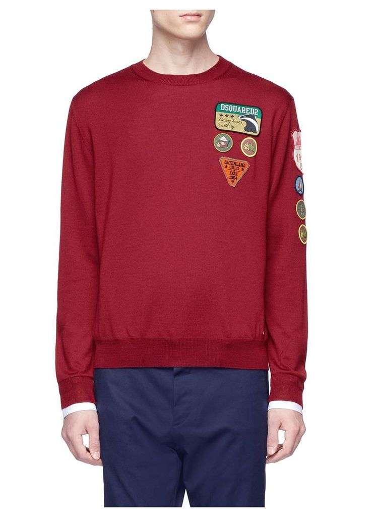 Mixed badge wool sweater