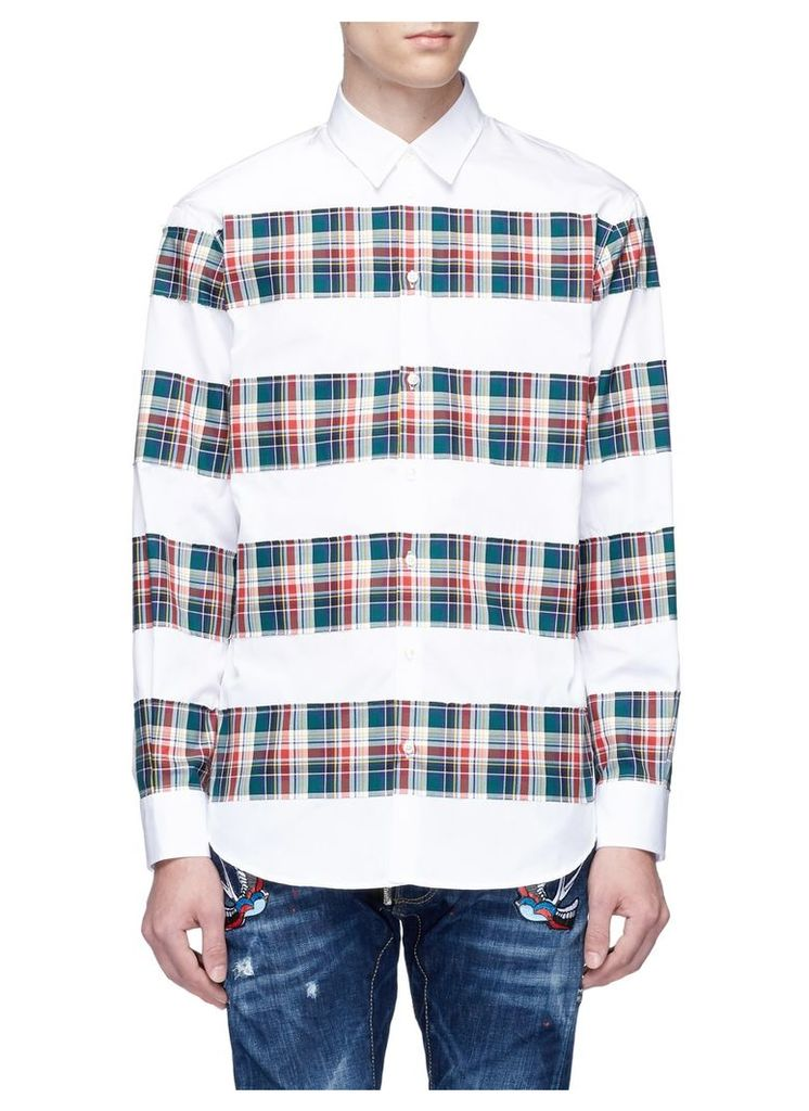 Tartan plaid panelled shirt