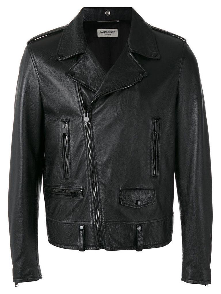 Saint Laurent - classic motorcycle jacket - men - Lamb Skin/Polyester/Cupro/Cotton - 48, Black