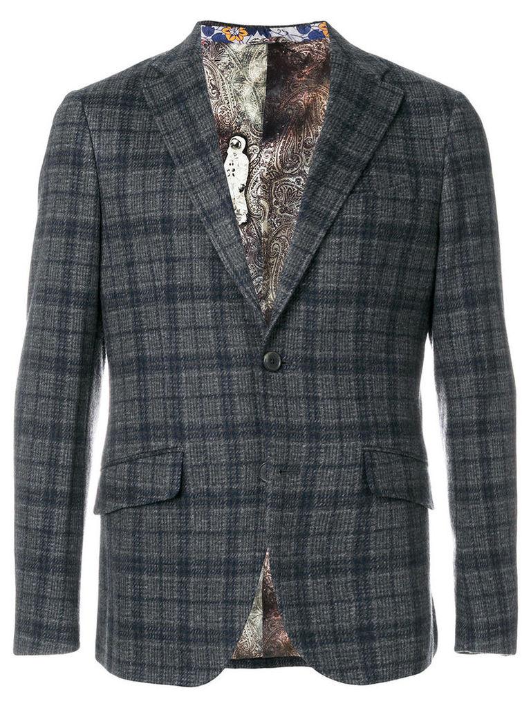 Etro - fitted check blazer - men - Cotton/Wool/Cupro - 50, Grey