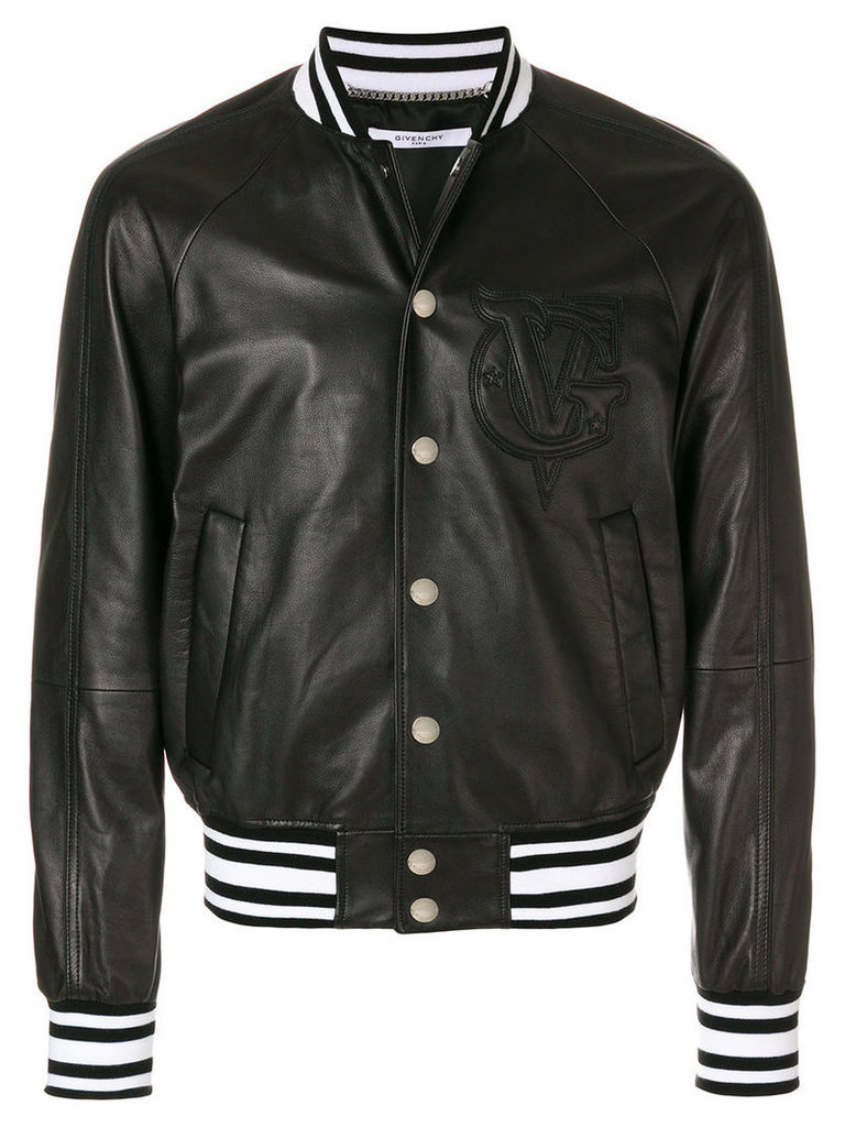Givenchy - logo embroidered bomber jacket - men - Cotton/Lamb Skin/Polyamide/Cupro - 52, Black