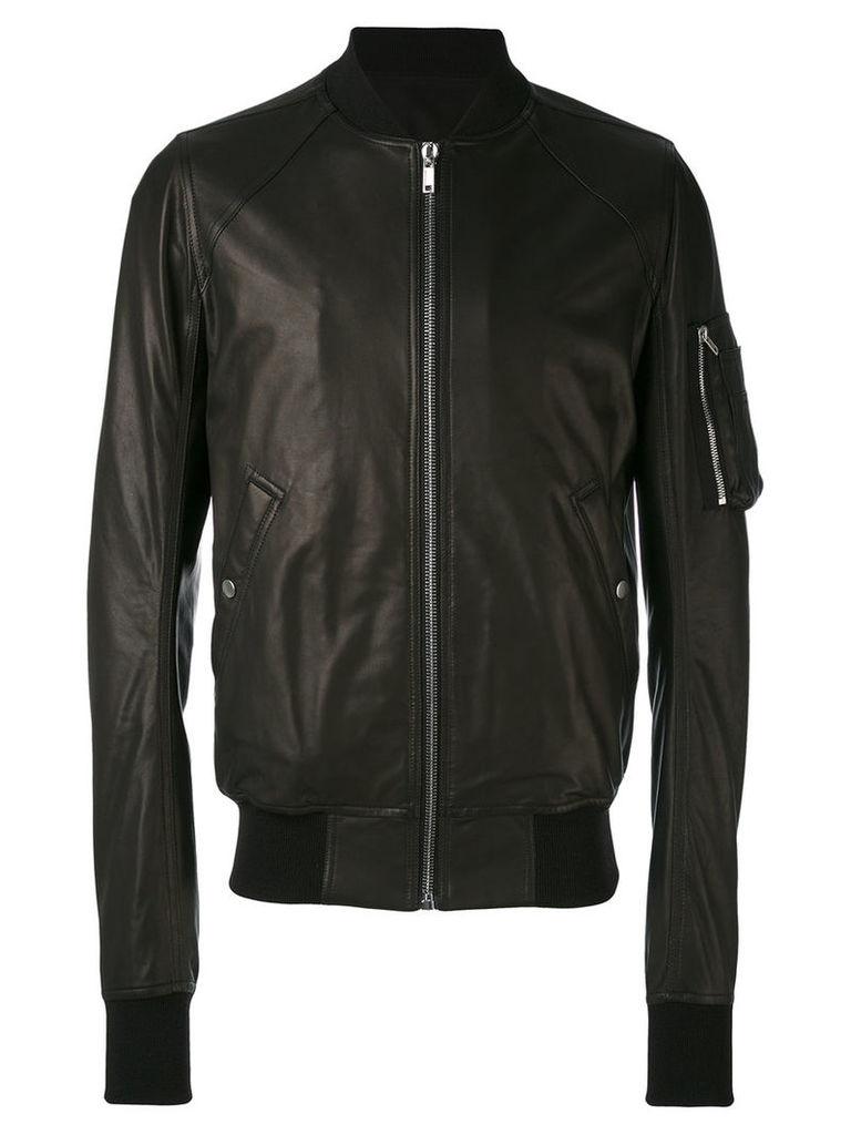 Rick Owens - raglan bomber jacket - men - Cotton/Lamb Skin/Virgin Wool/Cupro - 50, Black