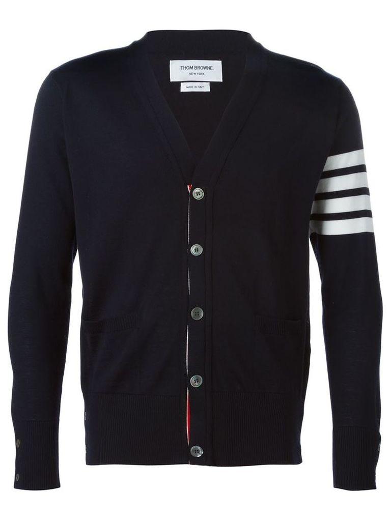Thom Browne - V-Neck Cardigan With 4-Bar Stripe In Navy Blue Merino - men - Merino - 00