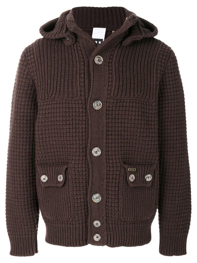 Bark - waffle knit cardigan - men - Wool/Polyamide - L, Brown