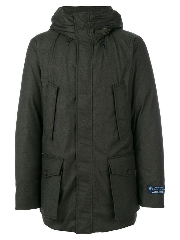 Woolrich - hooded coat - men - Virgin Wool/Silk/Polyamide/Feather Down - M, Green