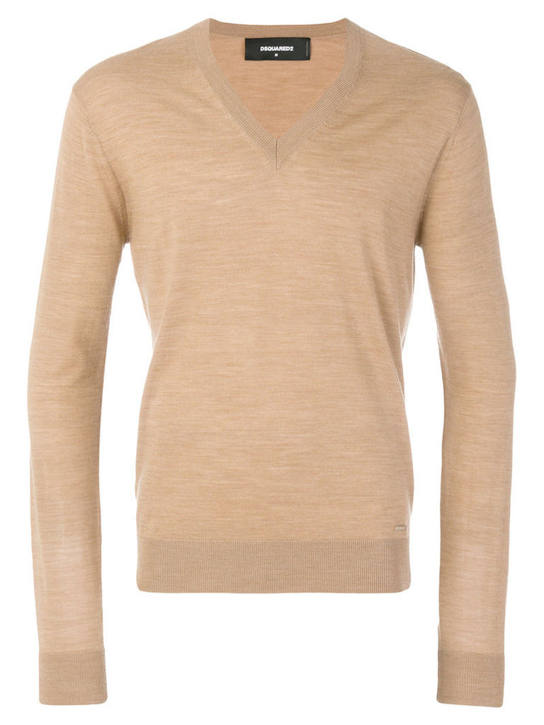 Dsquared2 - v-neck sweater - men - Wool - S, Nude/Neutrals