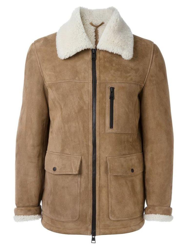 Ami Alexandre Mattiussi - zipped shearling jacket - men - Sheep Skin/Shearling - M, Nude/Neutrals