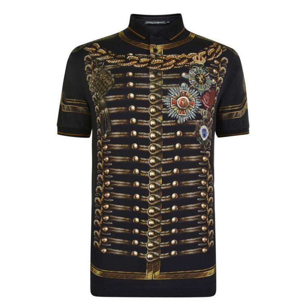 DOLCE AND GABBANA Military Polo Shirt