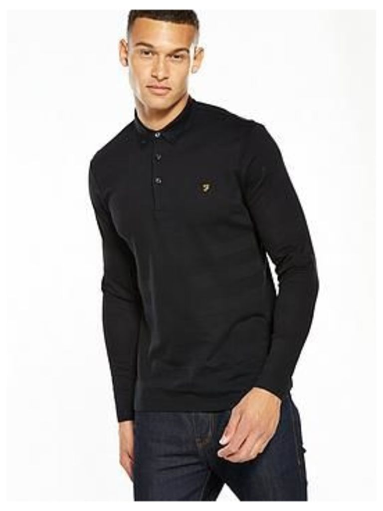 Farah Stapleton Textured Stipe L/S Polo