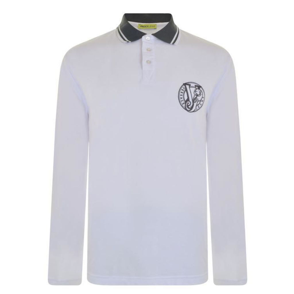 VERSACE JEANS Long Sleeved Logo Polo Shirt
