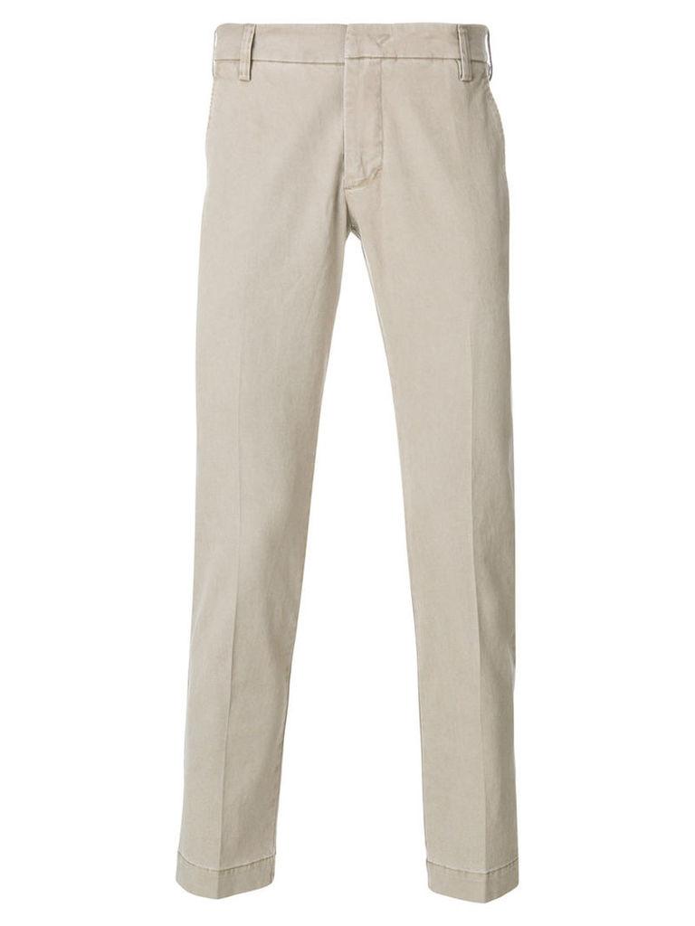 Entre Amis - slim-fit trousers - men - Cotton/Spandex/Elastane - 33, Nude/Neutrals