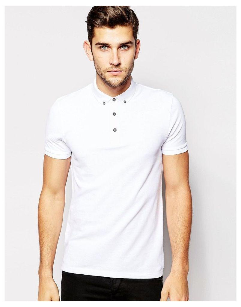 ASOS Polo Shirt In White Pique With Button Down Collar - White