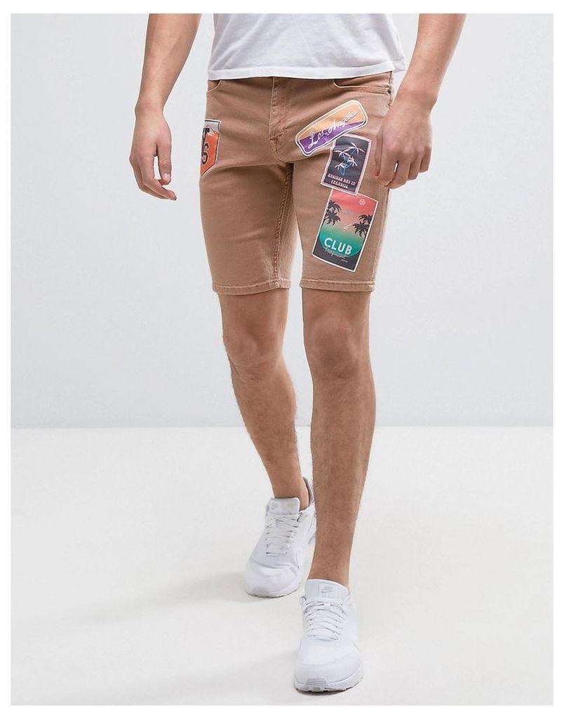 ASOS Denim Shorts In Skinny Pink With Badges - Pink