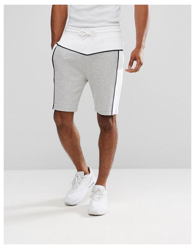 ASOS Jersey Shorts With Cut & Sew - White