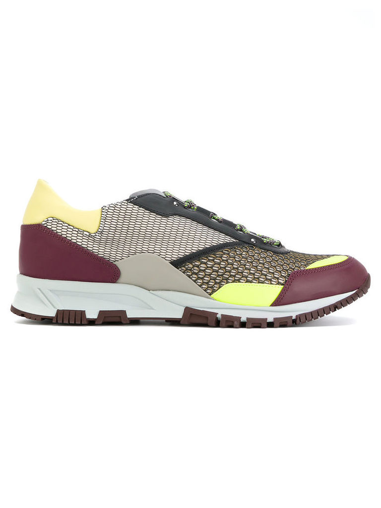 Lanvin - contrast sneakers - men - Calf Leather/Polyester/Leather/rubber - 9, Pink/Purple