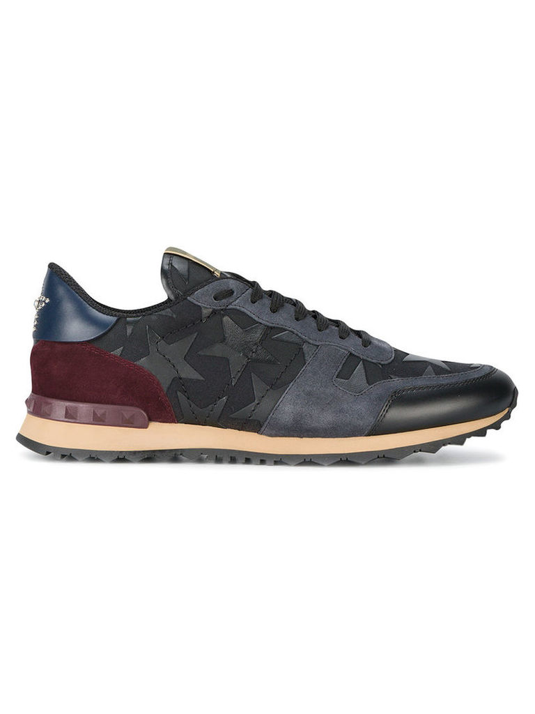 Valentino - Leather Sneakers With Star Detail - men - rubber/Polyamide/Suede/Cotton - 40, Black