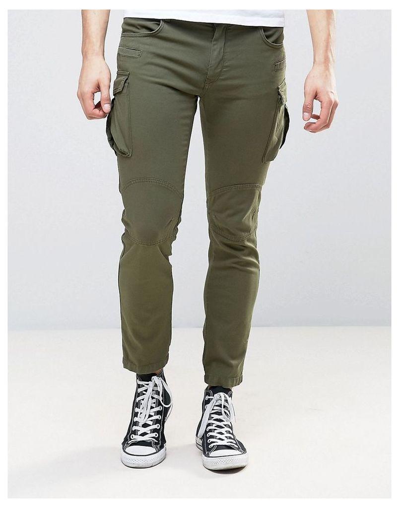 Sisley Cargo Trousers In Slim Fit - Khaki