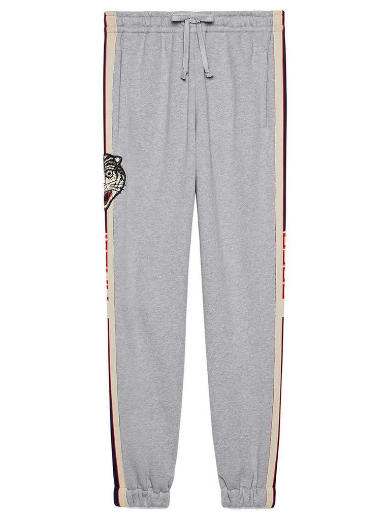 Gucci - Gucci stripe cotton jogging pants - men - Cotton - L, Grey
