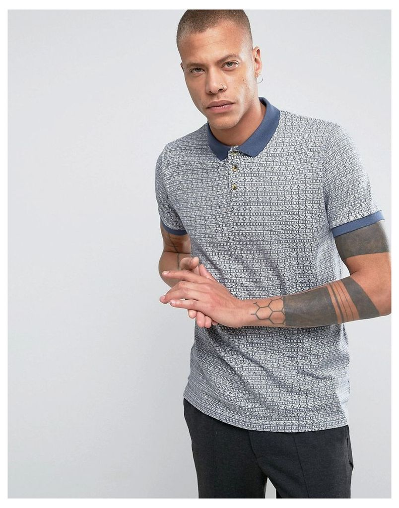 Bellfield Polo Shirt In Jacquard Pattern - Washed blue