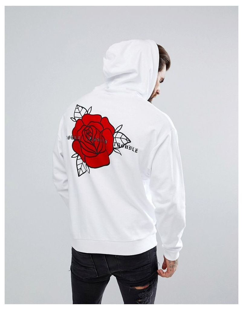 ASOS Oversized Hoodie with Rose Print - White