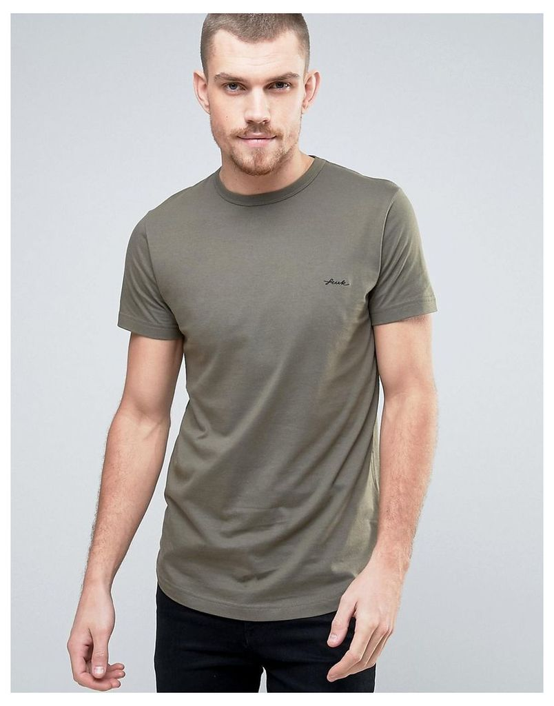 French Connection Longline T-Shirt with FCUK Chest Branding - Khaki