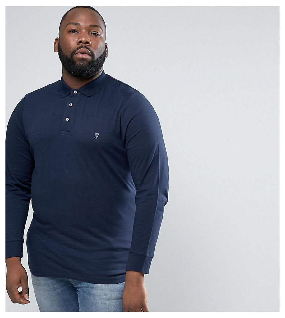French Connection PLUS Slim Fit Long Sleeve Jersey Polo - Marine