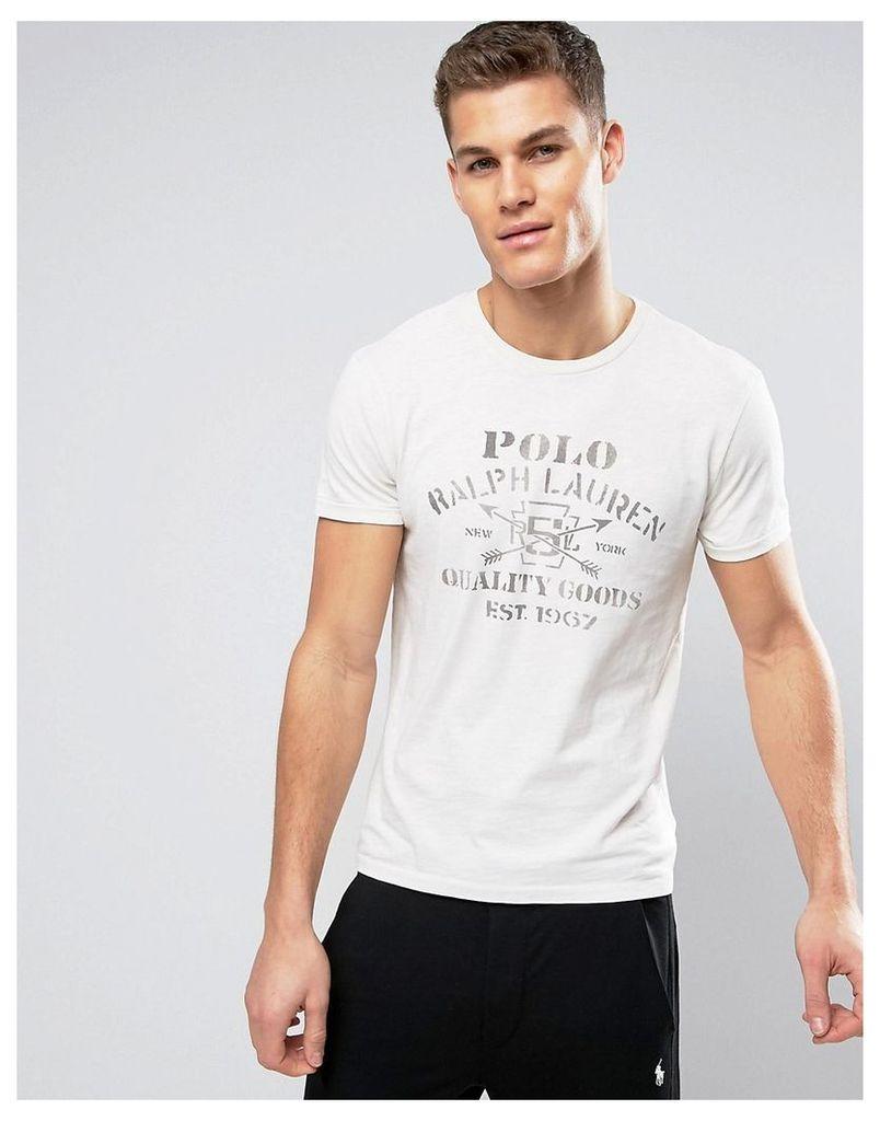 Polo Ralph Lauren Logo Print T-Shirt in Antique Cream - Antique cream