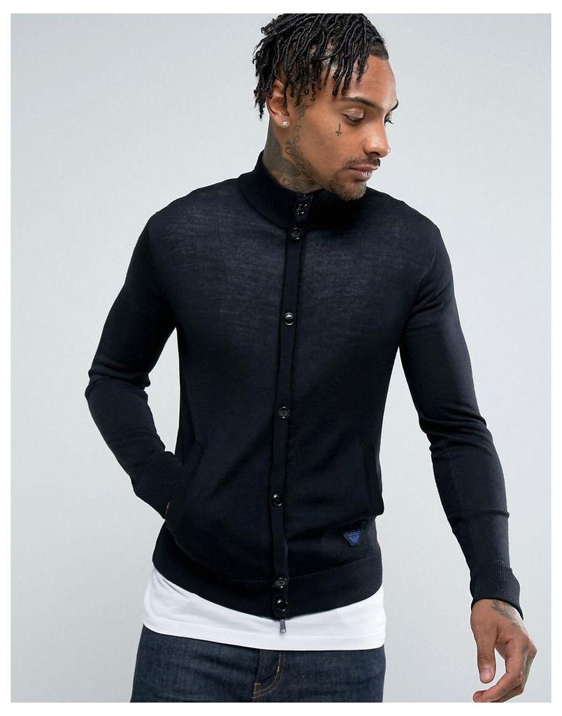 Armani Jeans Slim Fit Zip Through Button Logo Jumper Black - Black
