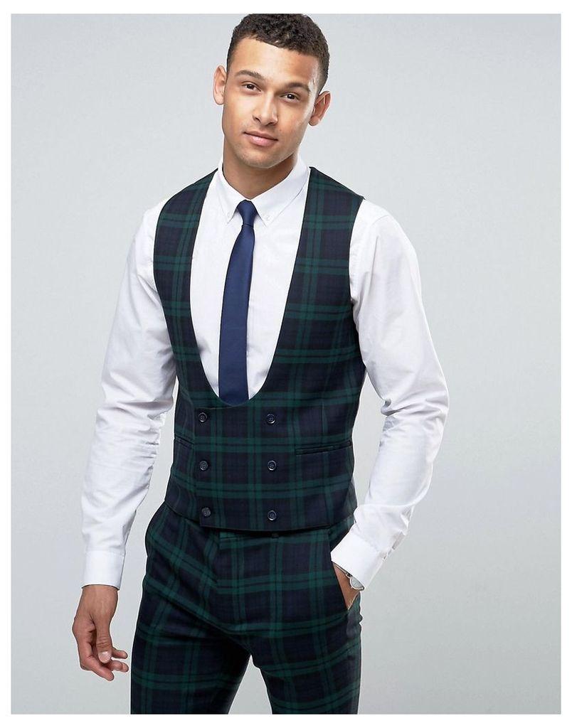 ASOS Super Skinny Waistcoat in Large Blackwatch Check - Green