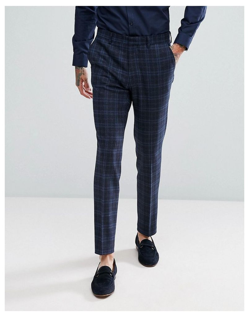 ASOS Skinny Suit Trousers In Blue Wool Mix Tartan - Blue