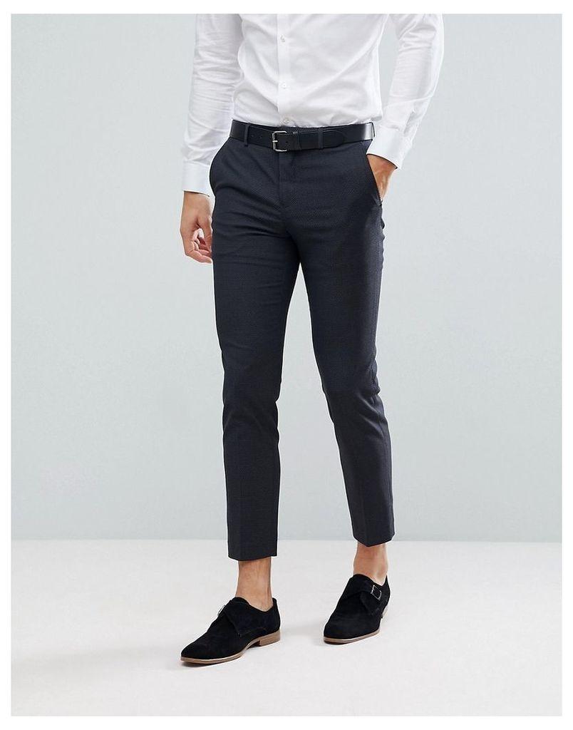 Jack & Jones Premium Slim Suit Trousers In Texture - Dark grey