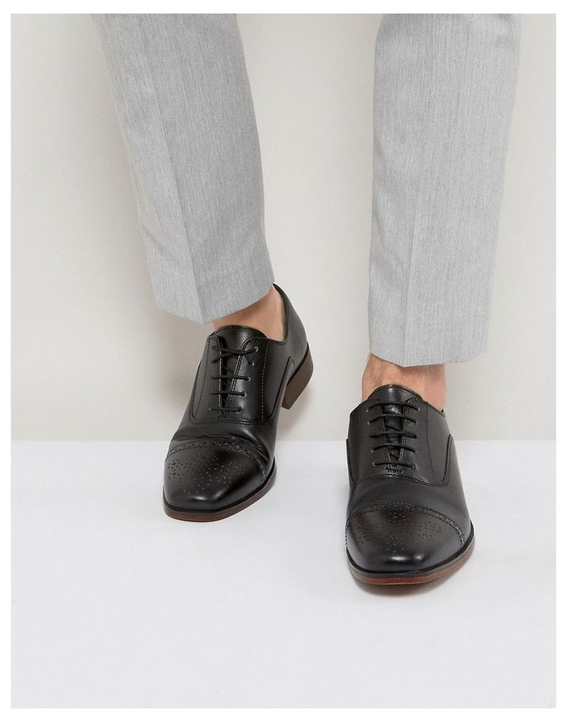 ASOS Brogue Shoes In Black Leather With Toe Cap - Black