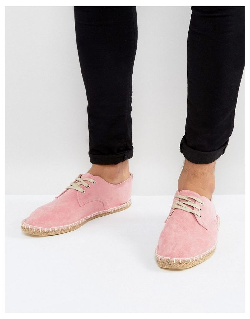 ASOS Lace Up Espadrilles In Pink Faux Suede - Pink
