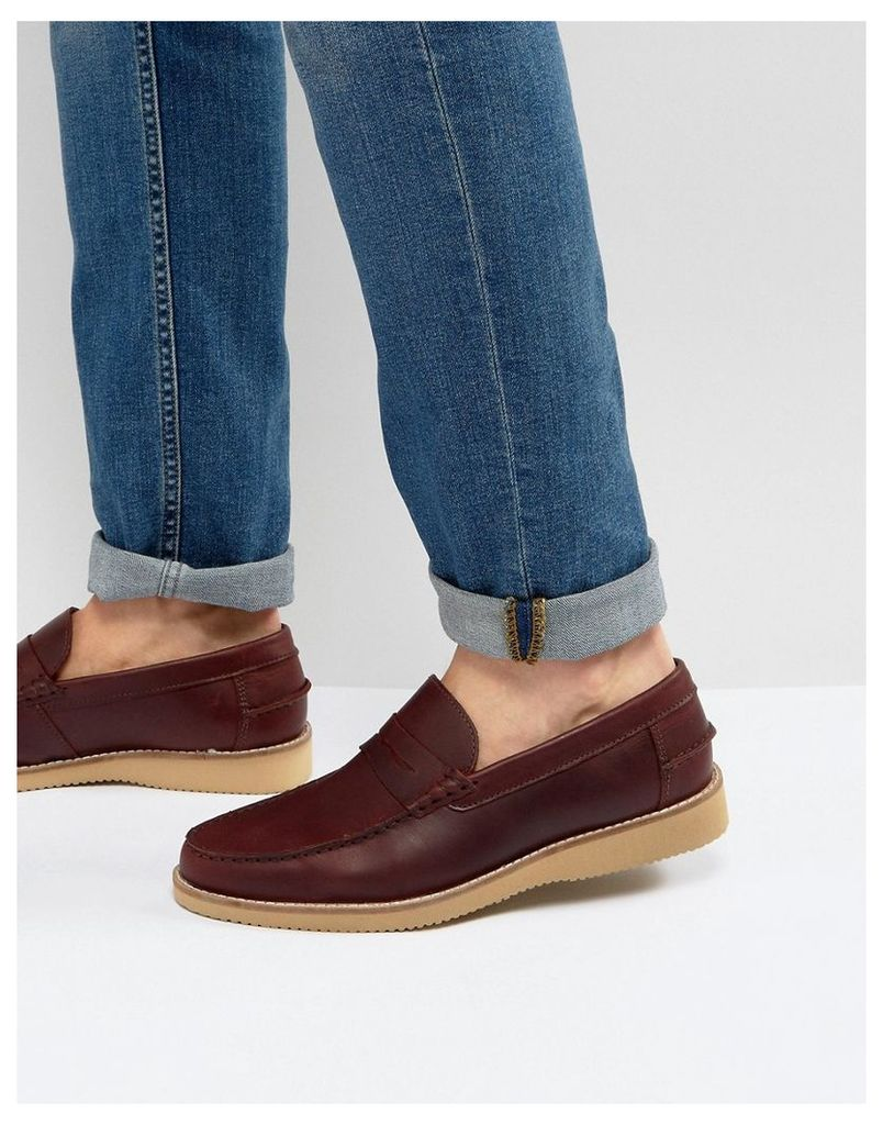 ASOS Penny Loafers In Burgundy Leather With Wedge Sole - Burgundy