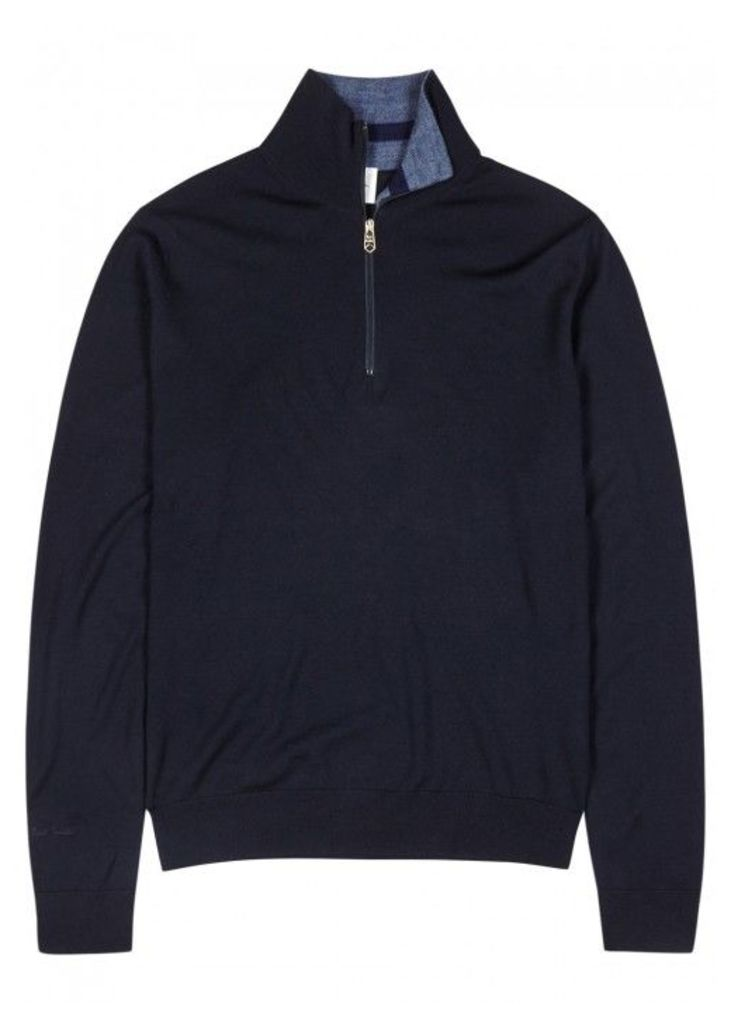 Paul Smith Navy Merino Wool Jumper - Size M