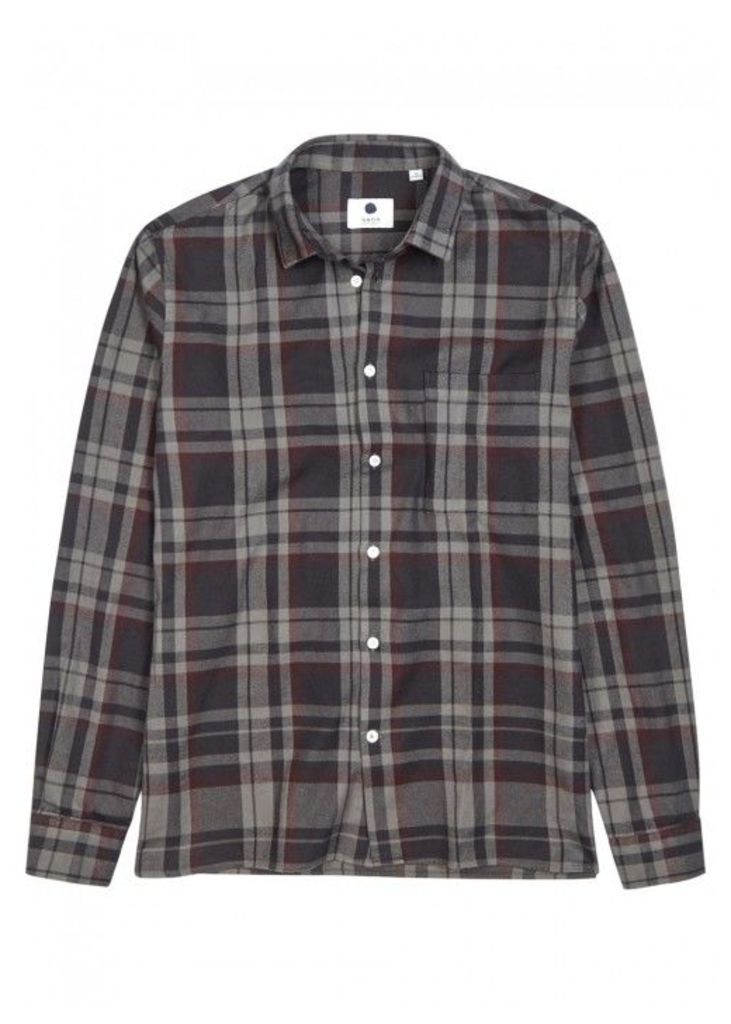 NN07 Basso Checked Cotton Flannel Shirt - Size M