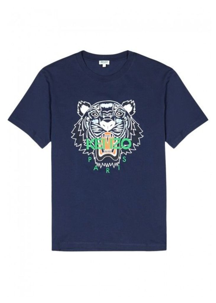 KENZO Navy Tiger-print Cotton T-shirt - Size XS