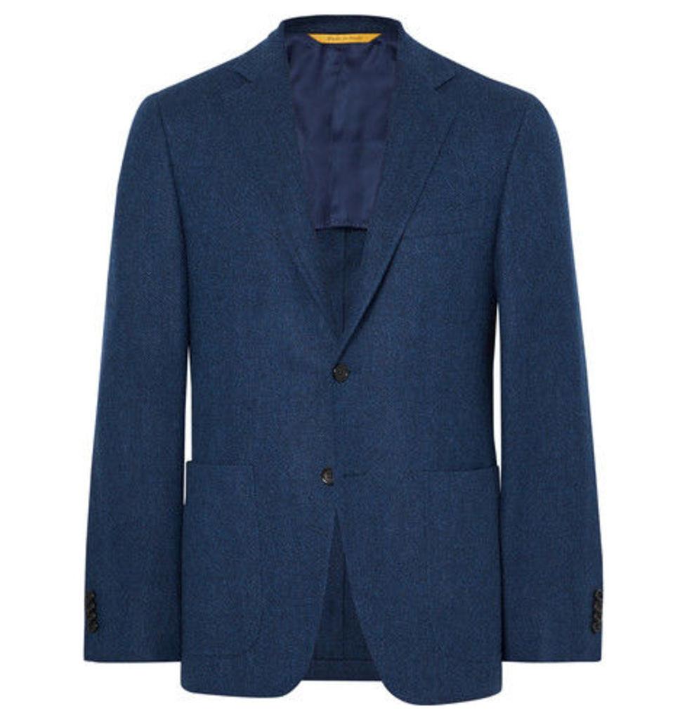 Storm-blue Kei Slim-fit Unstructured Herringbone Wool Blazer