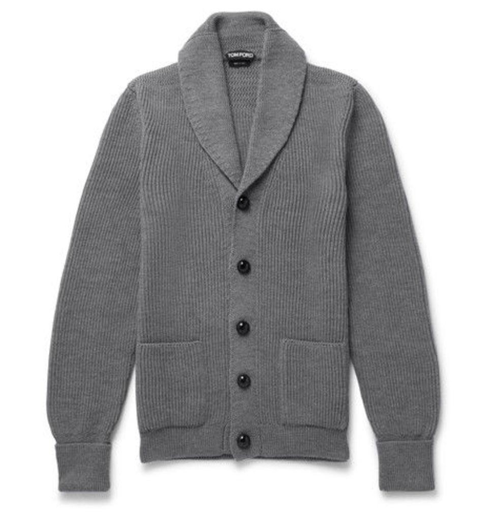 Steve Mcqueen Shawl-collar Ribbed Wool Cardigan